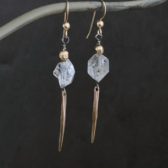 Herkimer Diamond Spike Earrings, SOLID BRONZE Bar, Raw Stone, Clear Crystal and Gold, 14K Gold Filled Long Point, Dangle Bar, ViaLove - ViaLove Designs