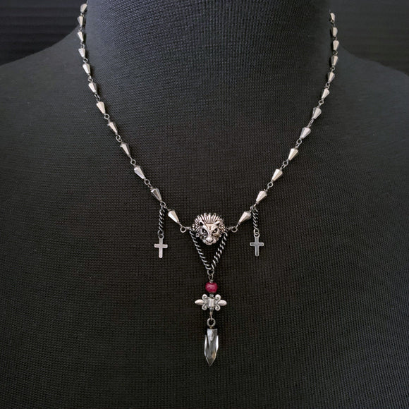 COURAGE - Lion and Crosses Red Ruby Pyrite Rosary Style Necklace - ViaLove Designs