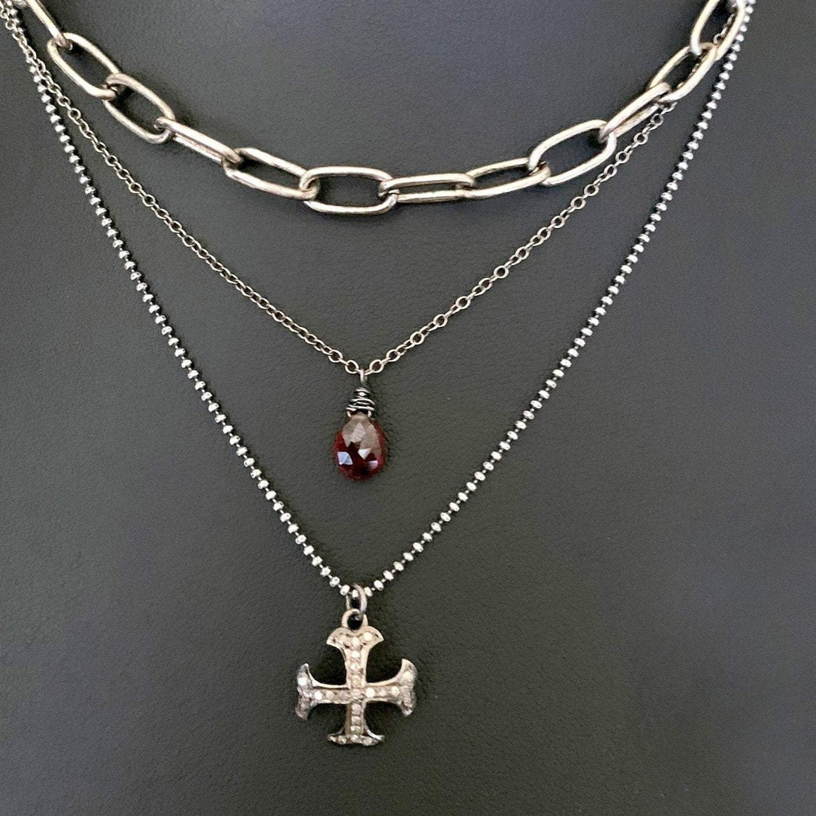 Pave DIAMOND Maltese Cross Layering Chain Necklace - ViaLove Designs