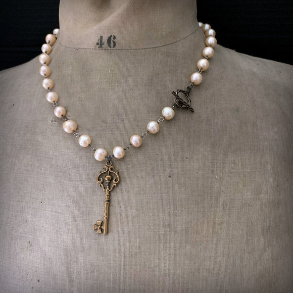 Peach Pearl SOLID BRONZE Skeleton Key Toggle Clasp Necklace - ViaLove Designs
