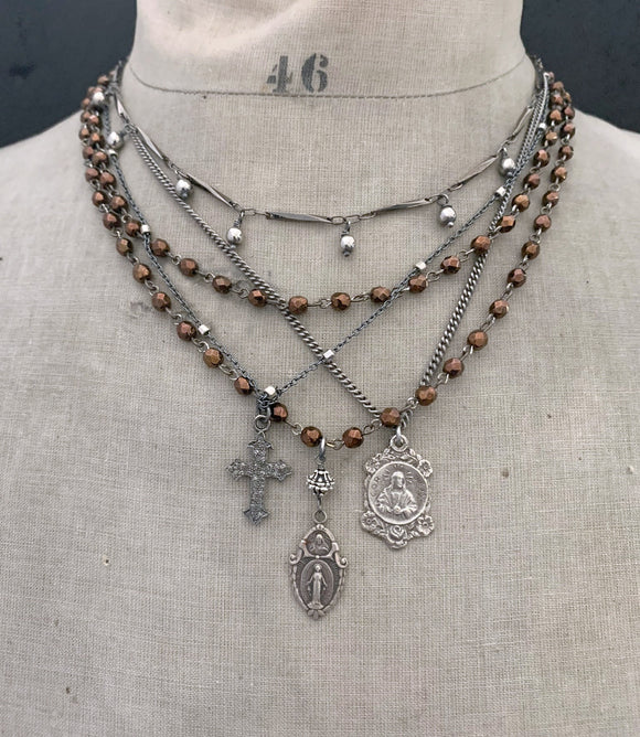 VINTAGE Religious Mary with Jesus Medal Copper Bead Wrap Around Necklace - ViaLove Designs
