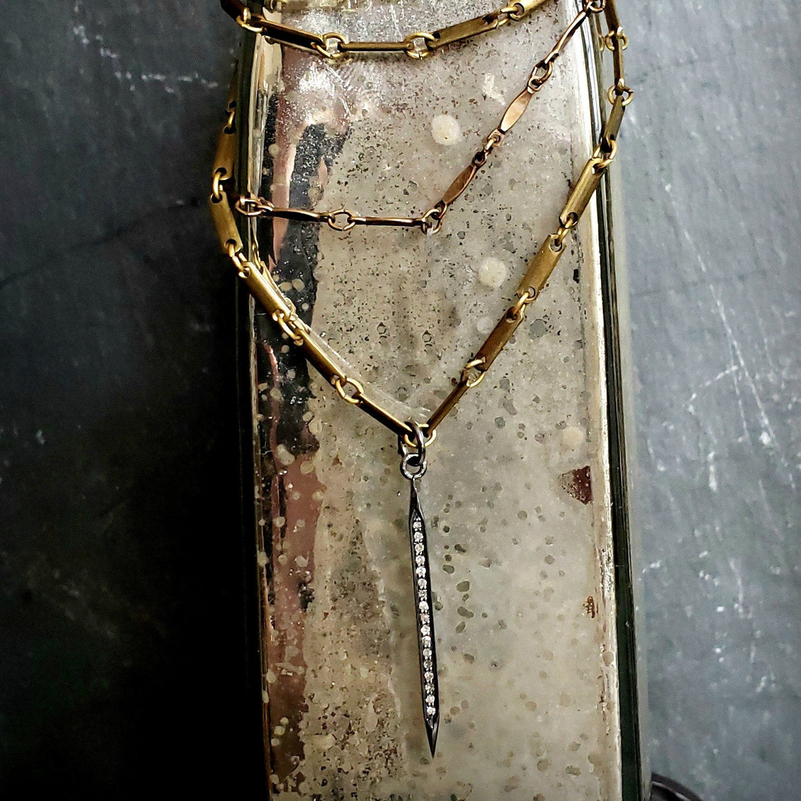 Edgy Wrap Around Brass Chain PAVE DIAMOND Spike Necklace - ViaLove Designs