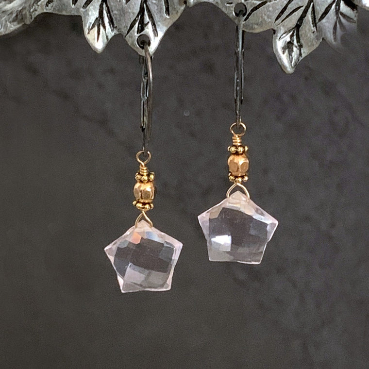 Blush Pink SPARKLY Gemstone14K Gold Filled Leverback Earrings - ViaLove Designs