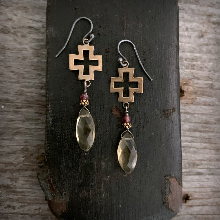 Garnet Lemon Quartz Gold Bronze Cross Gemstone Earrings