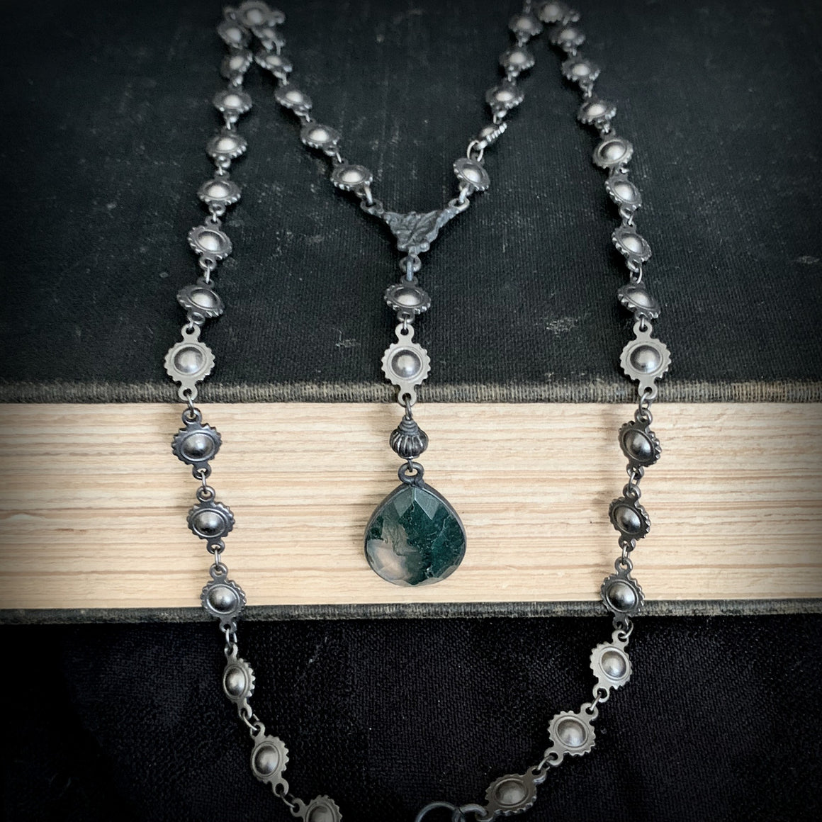 Dark Green Moss Aquamarine Medieval Black Chain Rosary Y Necklace