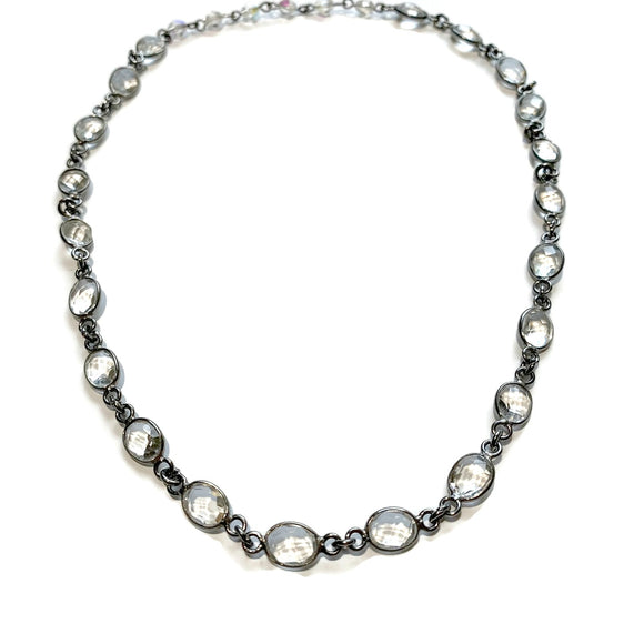 Oval Crystal Link Layering Chain Necklace - ViaLove Designs