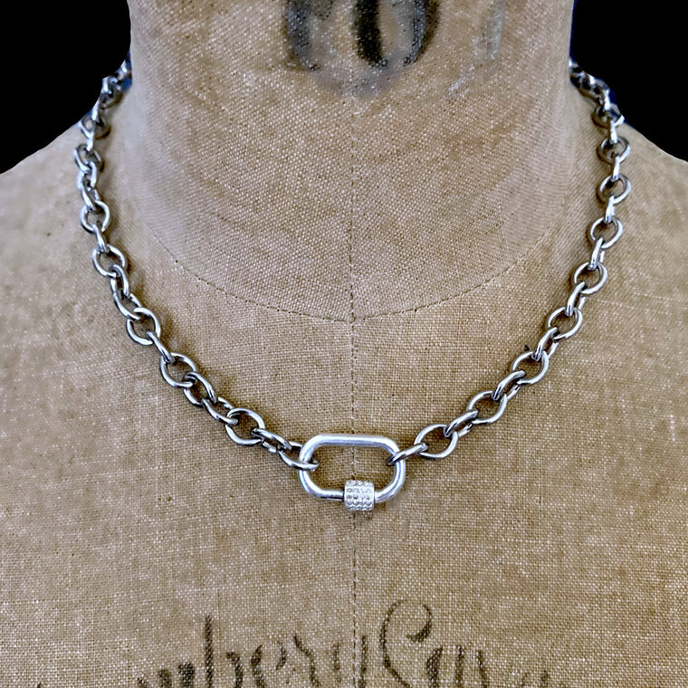 RESERVED - Sterling Silver Rhodium Cable Chain PAVE DIAMOND Carabiner Necklace - ViaLove Designs