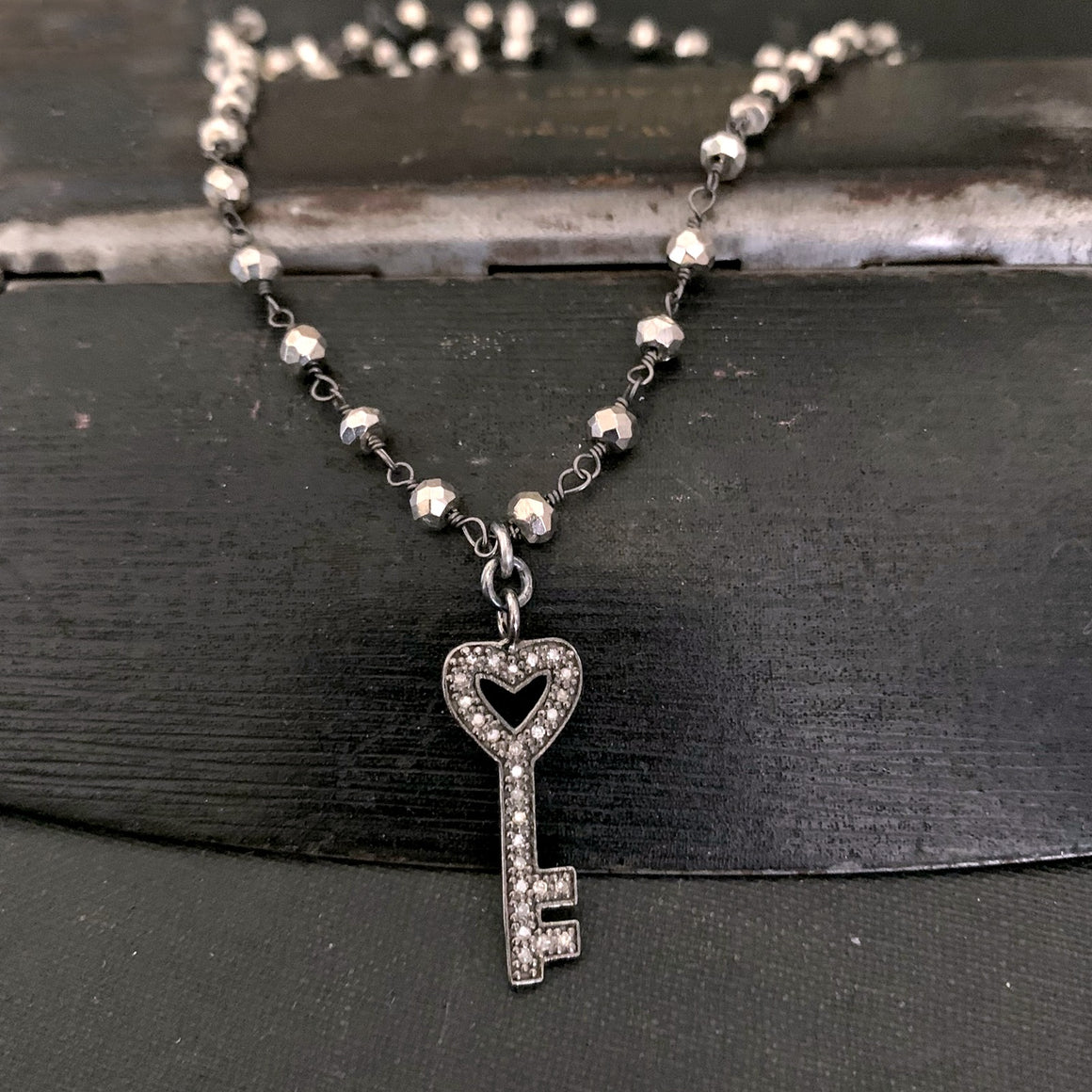 Pyrite Rosary Bead Chain DIAMOND KEY Heart Necklace - ViaLove Designs