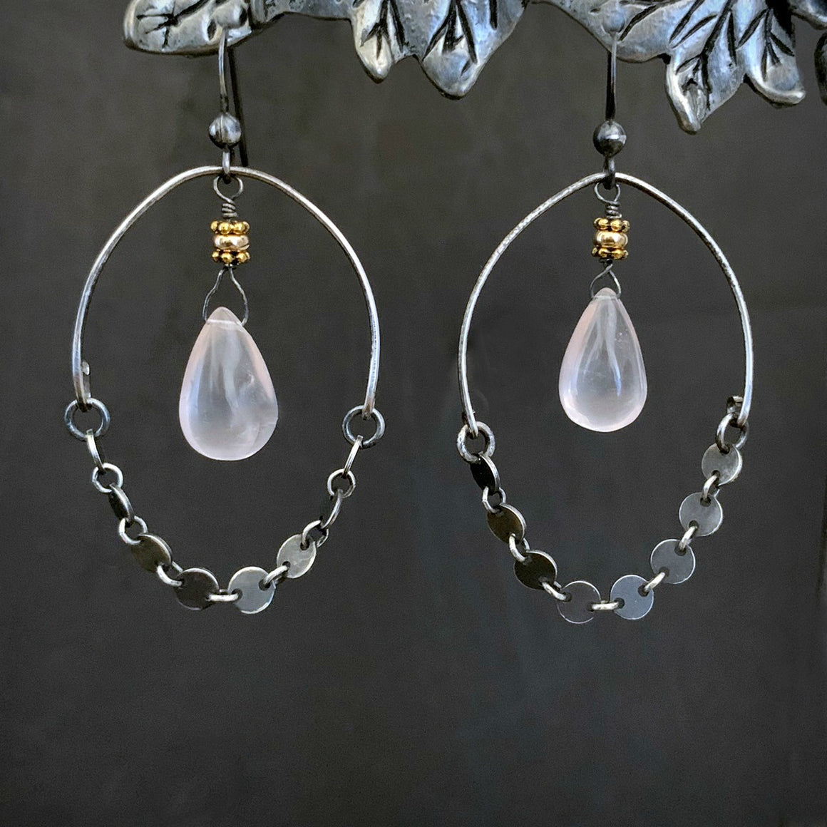 Long ROSE QUARTZ Sterling Silver Chain Dangle Hoop Earrings - ViaLove Designs