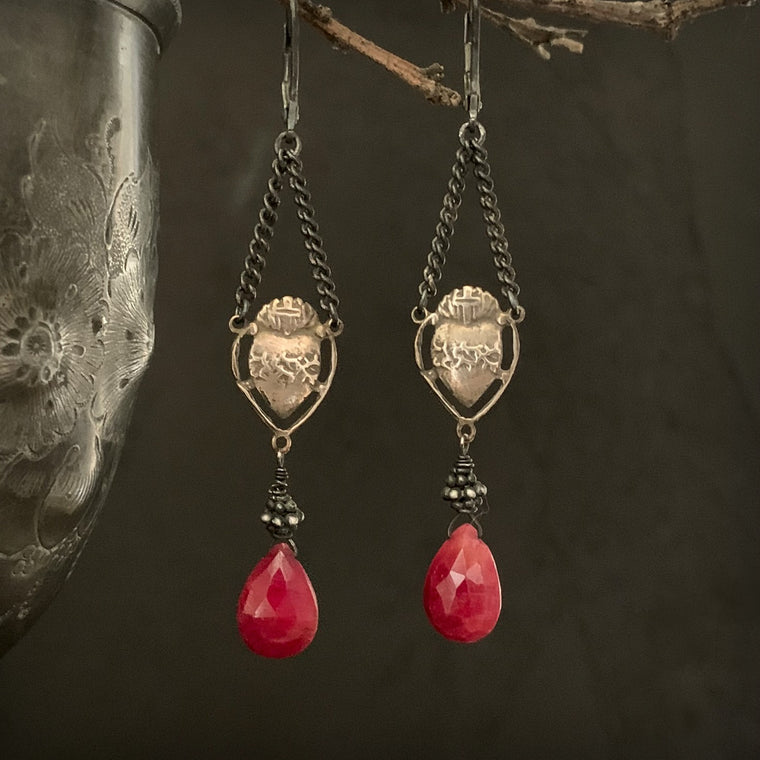 Gold Bronze Red Ruby Sacred Heart Oxidized Black Silver Earrings