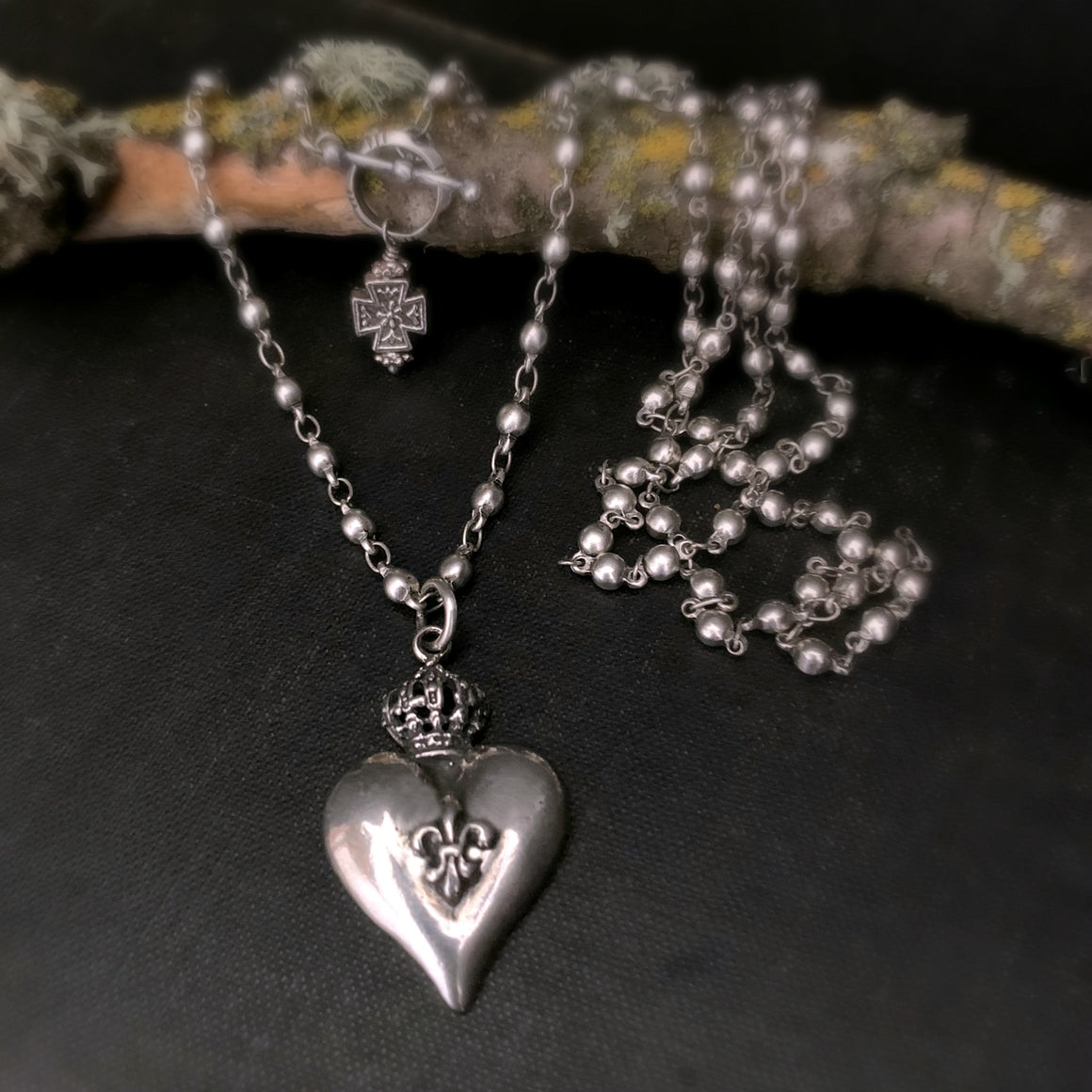 Antique Style Sterling Silver Heart Pendant Long Wrap Around Necklace