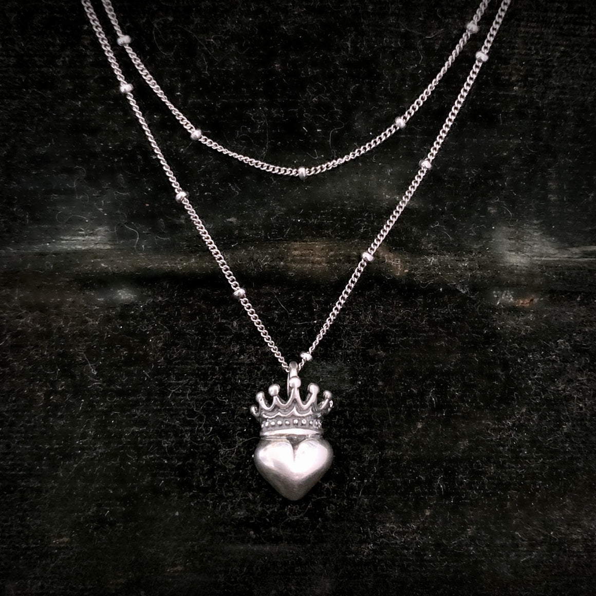 Solid Sterling Silver Heart Crown Pendant Chain Necklace