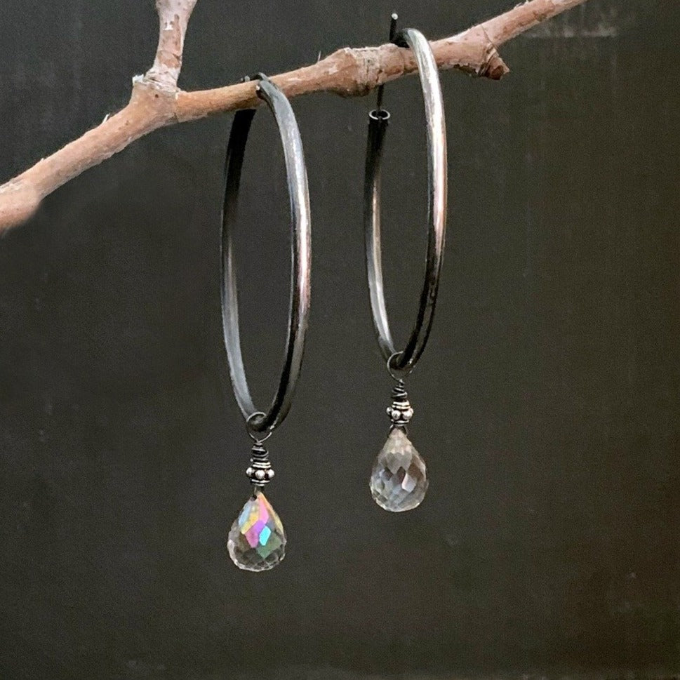 Mystic Quartz Vintage Inspired Oxidized Sterling Silver Hoop Earrings