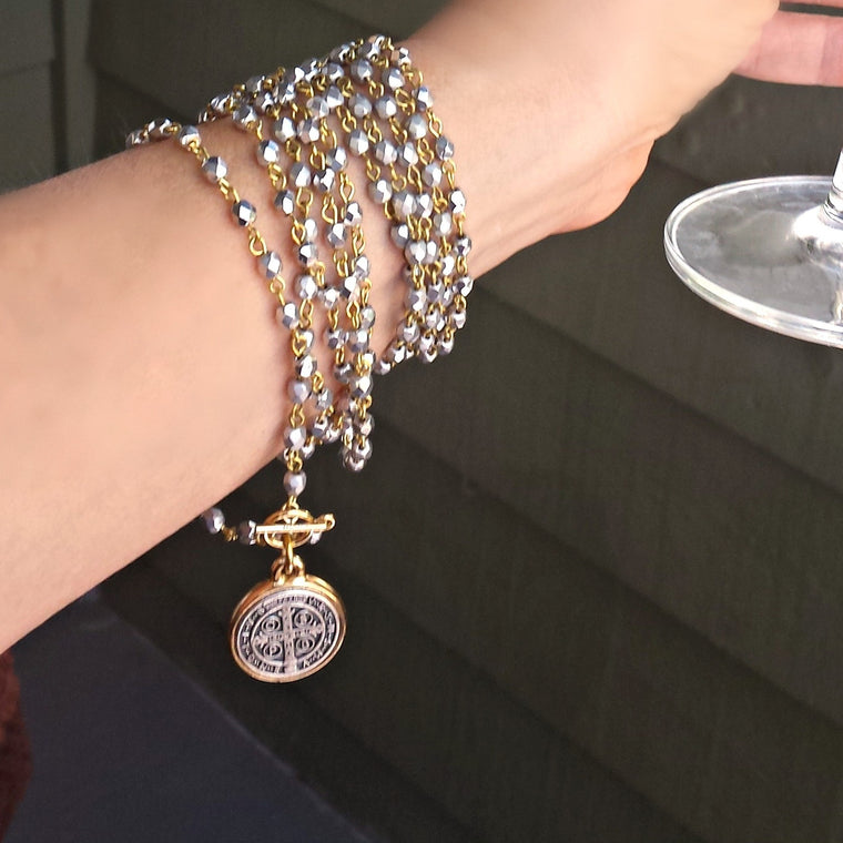 Silver Gold Bead Wrap Around St Benedict Bracelet / Convertible Necklace - ViaLove Designs