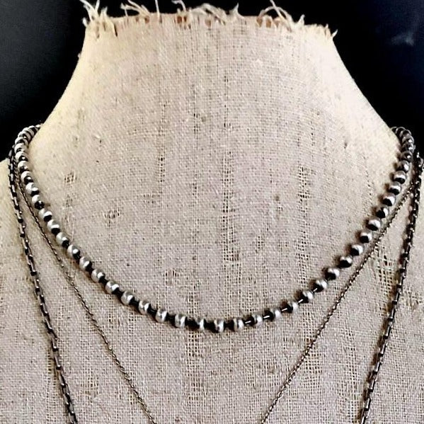 Solid STERLING SILVER Layering Bead Chain Necklace - ViaLove Designs