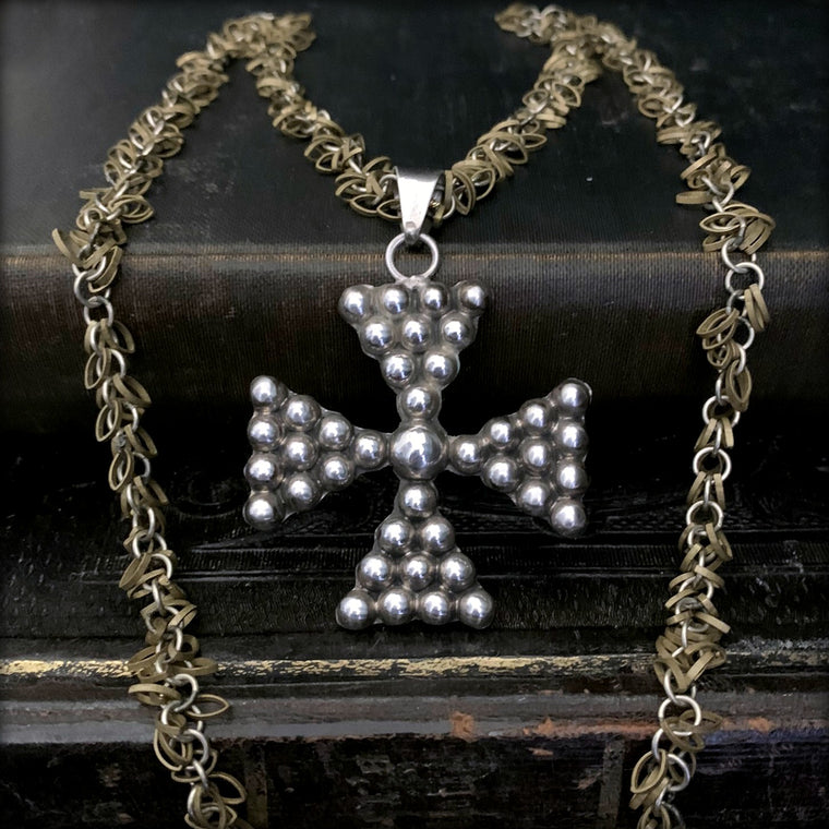 Large Antique STERLING SILVER Taxco Mexico Maltese Cross Necklace