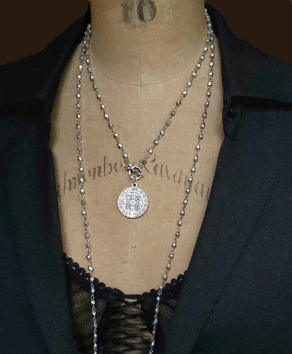 Long Antique Silver Bead Wrap Around St. Benedict Pendant Necklace