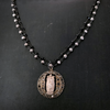 Vintage Sacred Heart of Jesus Pyrite Rosary Style Gold and Black Bead Necklace