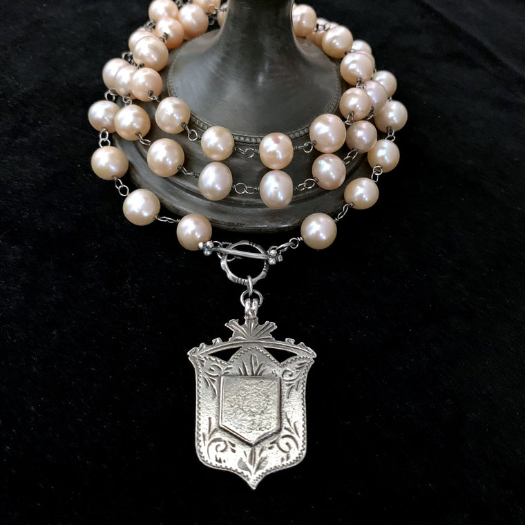 Antique STERLING SILVER Watch Fob Wire Wrapped Pearl Necklace