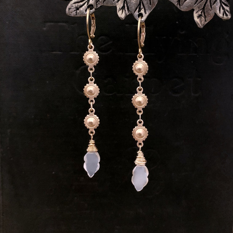 Medieval Style Long Gold and White Moonstone Leverback Earrings