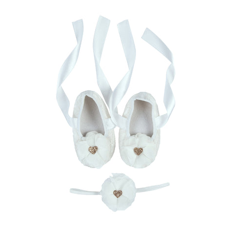 Baby Girl - Rose Gold Heart - Flower Shoe Set - White