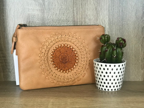 Mandala Leather Clutch - Tan