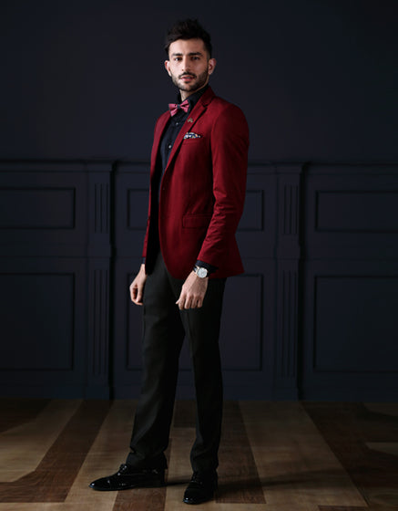 The Maroon Jacket With Black Shirt