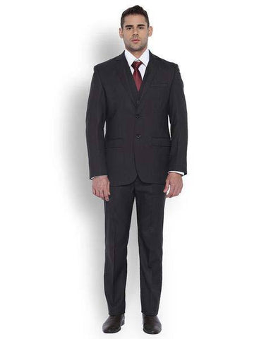Park Avenue Men Wool Blend Black Regular Fit Suit