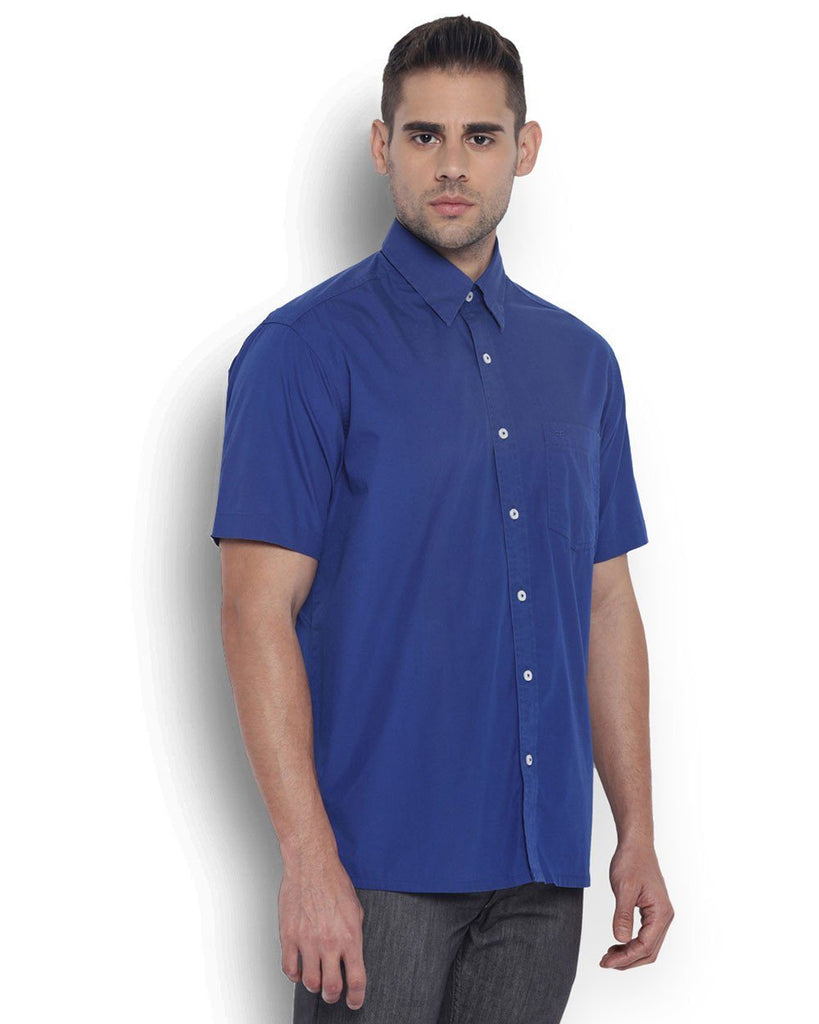 ColorPlus Men Cotton  Blue Classic Fit T-Shirt