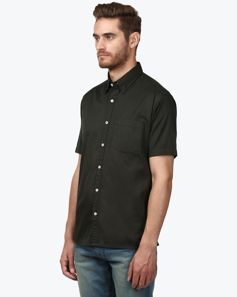 ColorPlus Dark Green Classic Fit Shirt