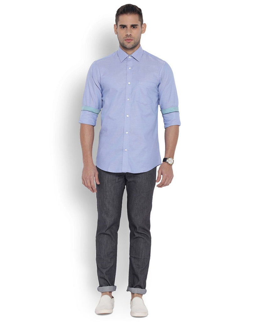 ColorPlus Men Cotton  Blue Tailored Fit Shirt