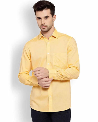 ColorPlus  Yellow Tailored Fit Shirt