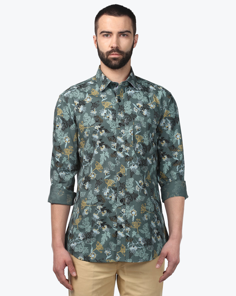 ColorPlus Dark Green Tailored Fit Shirt