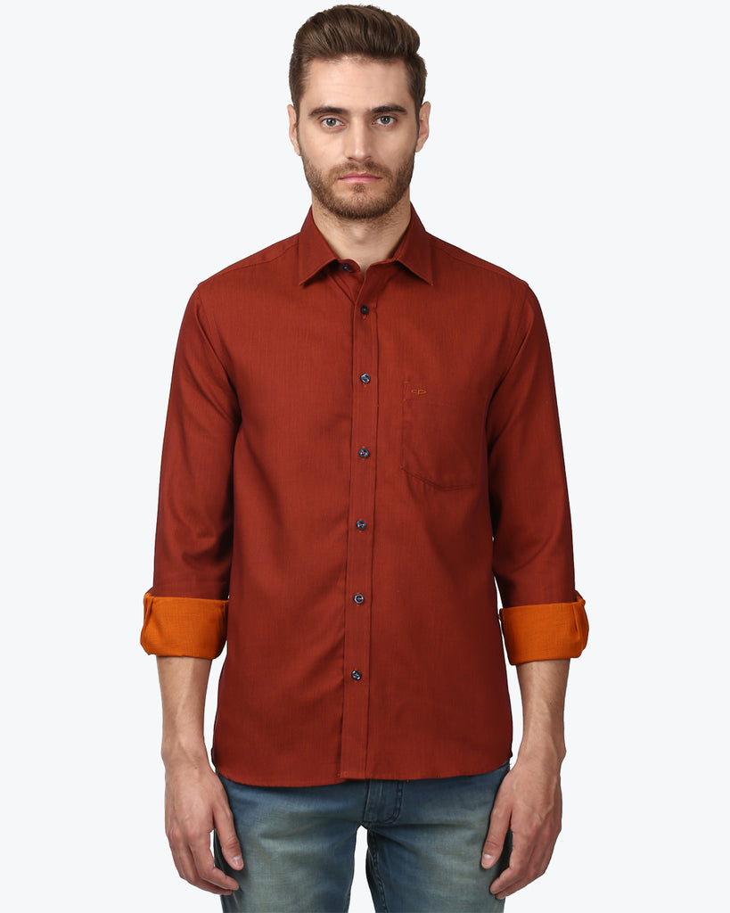 ColorPlus Dark Orange Tailored Fit Shirt