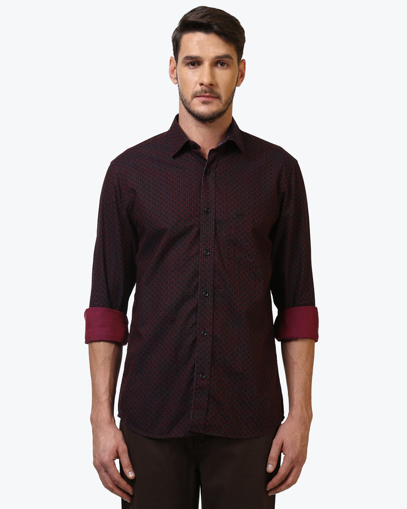 ColorPlus Dark Red Tailored Fit Shirt
