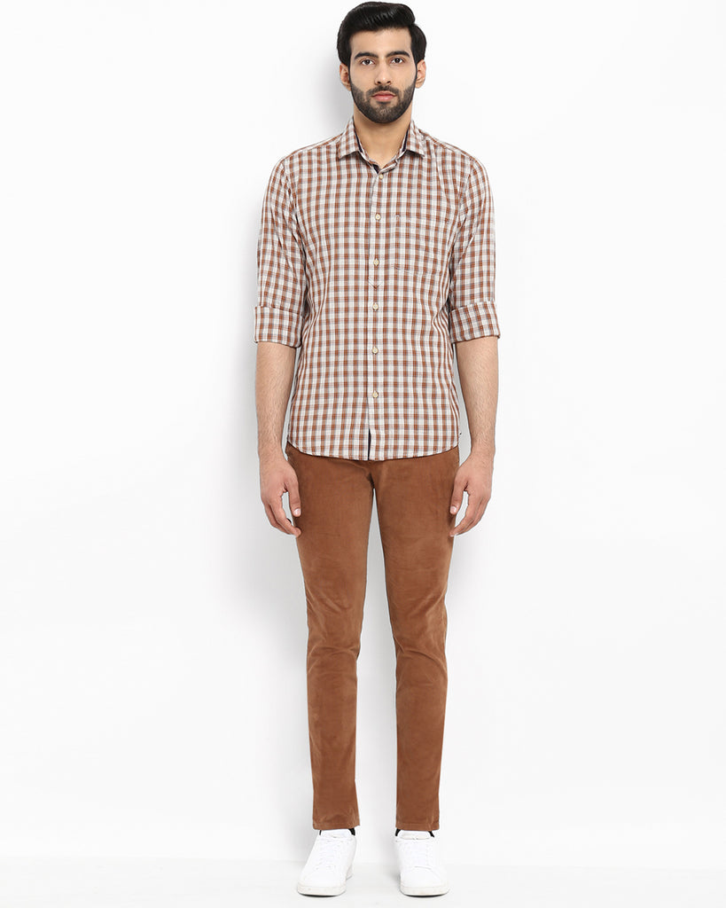 ColorPlus Brown Tailored Fit Shirt