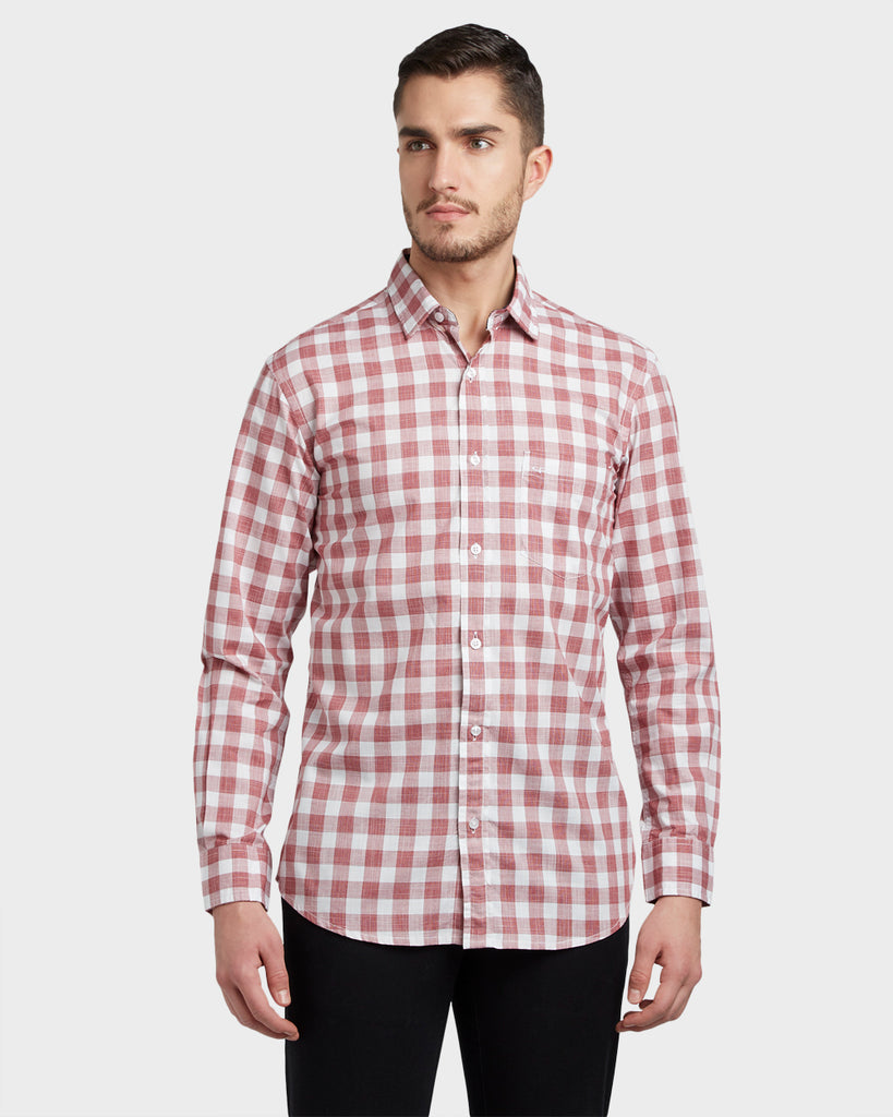 ColorPlus Dark Red Slim Fit Shirt