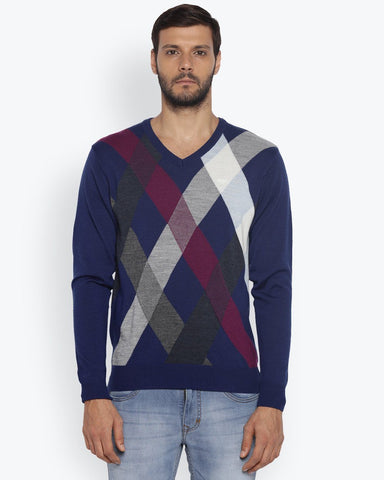 ColorPlus Medium Blue Classic Fit Sweater