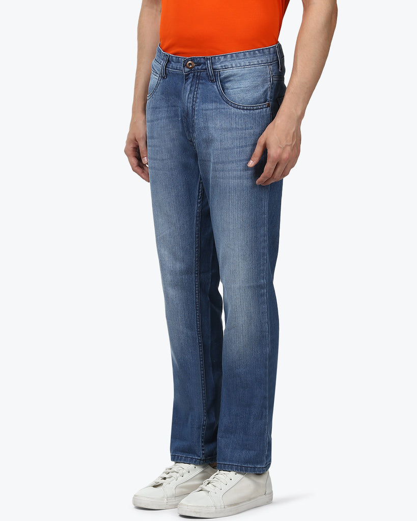ColorPlus Medium Blue Regular Fit Jeans