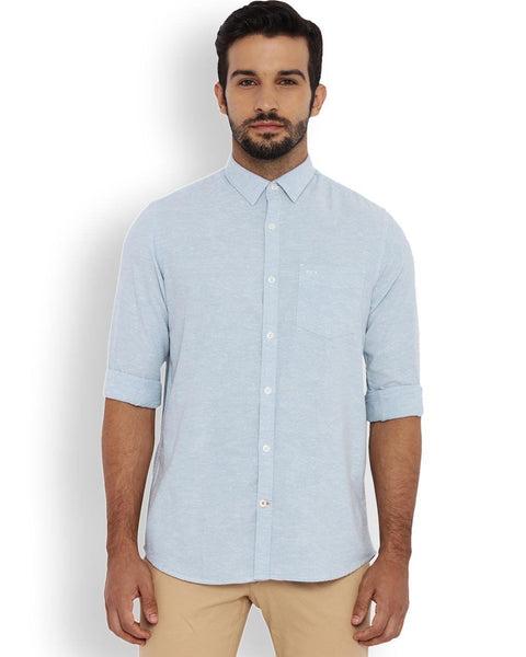 ColorPlus Light Blue Contemporary Fit Shirt