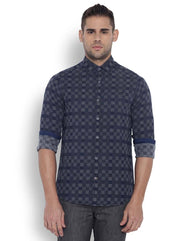 ColorPlus Men Cotton  Indigo Contemparory Fit Shirt
