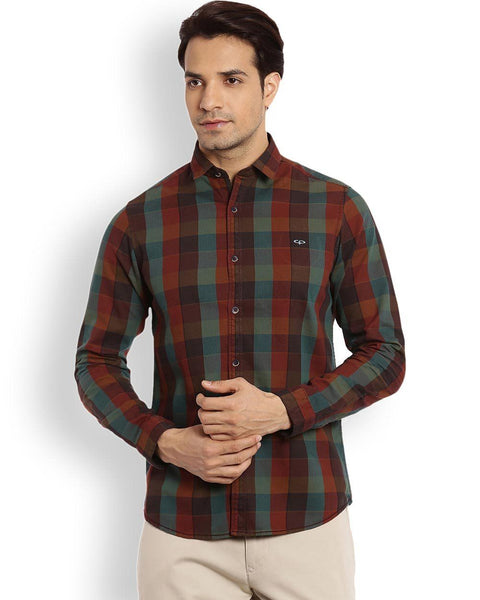 ColorPlus Dark Brown Contemporary Fit Shirt