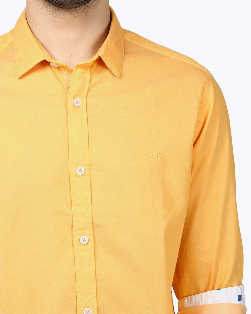 ColorPlus Medium Yellow Contemporary Fit Shirt