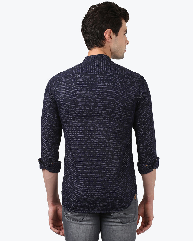 ColorPlus Navy Blue Contemporary Fit Shirt