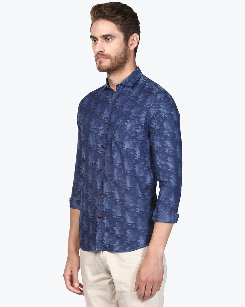ColorPlus Dark Blue Contemporary Fit Shirt