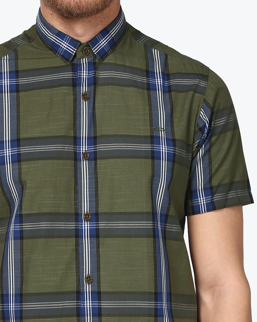 ColorPlus Dark Green Contemporary Fit Shirt