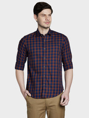 ColorPlus Brown Slim Fit Shirt