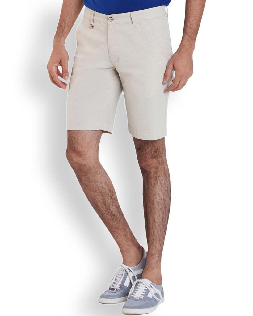 Park Avenue  Beige Casual Fit Shorts