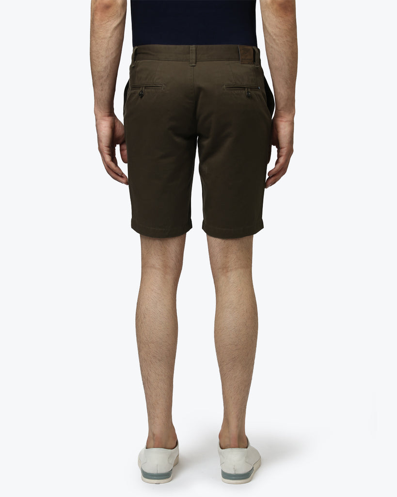 Park Avenue Dark Green Slim Fit Shorts