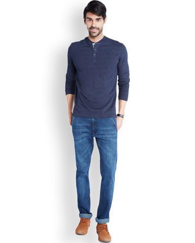 Park Avenue  Blue Casual Fit T-Shirt